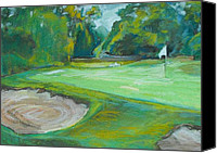 Greens  Mixed Media Canvas Prints - Locust Valley Golf Course Canvas Print by Sharon Wensel