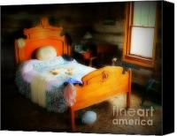Potography Canvas Prints - Log Cabin Bedroom Canvas Print by Perry Webster