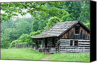 Log Cabin Photo Canvas Prints - Log Cabin Fort New Salem Canvas Print by Thomas R Fletcher