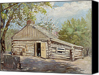 Cabin Canvas Prints - Log Cabin Canvas Print by Lewis A Ramsey