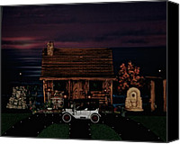 Log Cabins Canvas Prints - LOG CABIN SCENE at sunset with 1913 Buick model 25 Canvas Print by Leslie Crotty