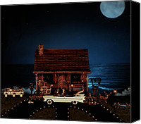 Old Cabins Canvas Prints - LOG CABIN SCENE with 1961 chrysler imperial crown convertible Canvas Print by Leslie Crotty