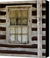 Log Cabin Canvas Prints - Log Cabin Window Canvas Print by Murray Bloom