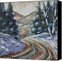 Prankearts Canvas Prints - Logging Road in Winter by Prankearts Canvas Print by Richard T Pranke