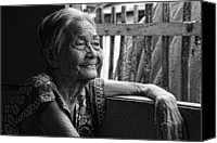 Filipino Canvas Prints - Lola Laraine Favorite Spot Image 28 in Black and White Canvas Print by James Bo Insogna