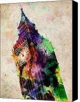 Watercolor Canvas Prints - London Big Ben Urban Art Canvas Print by Michael Tompsett