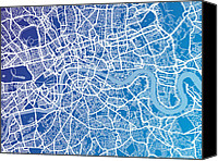 Map Art Digital Art Canvas Prints - London England Street Map Canvas Print by Michael Tompsett
