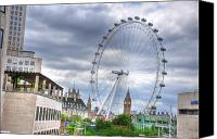 Buckingham Palace Digital Art Canvas Prints - London Eye Canvas Print by Barry R Jones Jr