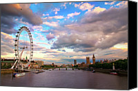 Cloud Glass Canvas Prints - London Eye Evening Canvas Print by Kapuk Dodds