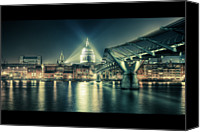 Outdoors Canvas Prints - London Landmarks By Night Canvas Print by Araminta Studio - Didier Kobi