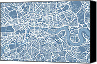 United Kingdom Canvas Prints - London Map Art Steel Blue Canvas Print by Michael Tompsett