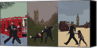 Martial Arts Canvas Prints - London Matrix triptych Canvas Print by Jasna Buncic