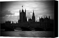 Grey Clouds Canvas Prints - London on a Cloudy Day BW Canvas Print by Kamil Swiatek