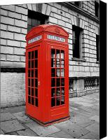 Red And White Canvas Prints - London Phone Booth Canvas Print by Rhianna Wurman