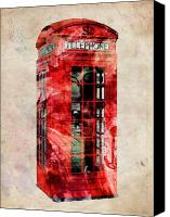 Phone Canvas Prints - London Phone Box Urban Art Canvas Print by Michael Tompsett