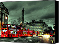 Green Canvas Prints - London Red buses and Routemaster Canvas Print by Jasna Buncic