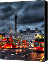 Column Canvas Prints - London red buses Canvas Print by Jasna Buncic