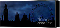 Location Digital Art Canvas Prints - London skyline - night Canvas Print by Michal Boubin