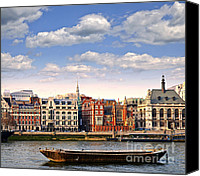Barge Canvas Prints - London skyline from Thames river Canvas Print by Elena Elisseeva