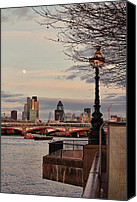 Barge Canvas Prints - London skyline from the South Bank Canvas Print by Jasna Buncic