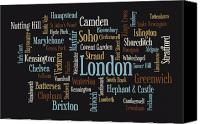 Garden Digital Art Canvas Prints - London Text Map Canvas Print by Michael Tompsett