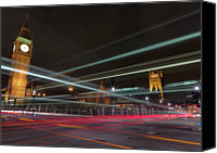 Clock Canvas Prints - London Traffic Canvas Print by Mark A Paulda