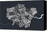 Cloud Digital Art Canvas Prints - London UK Text Map Canvas Print by Michael Tompsett