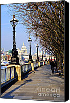 Bank Canvas Prints - London view from South Bank Canvas Print by Elena Elisseeva