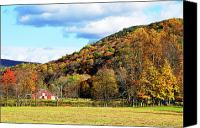 Family Farm Canvas Prints - Lone Barn Fall Color Canvas Print by Thomas R Fletcher