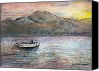 Mountains Pastels Canvas Prints - Lone Fisherman Canvas Print by Arline Wagner