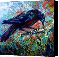 Crows Canvas Prints - Lone Raven Canvas Print by Marion Rose
