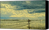 Barbara Middleton Canvas Prints - Lone Surfer Canvas Print by Barbara Middleton