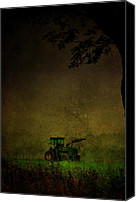 Farm Scenes Canvas Prints - Lone Tractor Canvas Print by Emily Stauring