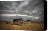 Storm Photo Canvas Prints - Lonely Beach Shacks Canvas Print by Evelina Kremsdorf