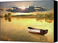 Solitude Canvas Prints - Lonely Boat Canvas Print by JimPix