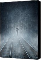 Foreboding Canvas Prints - Lonely Figure Canvas Print by Svetlana Sewell