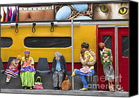 Multicultural Canvas Prints - Lonely Travelers - Crop Of Original - To See Complete Artwork Click View All Canvas Print by Anne Klar