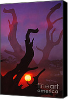 Scenic Digital Art Canvas Prints - Lonely Tree Silhouette On Sunset Canvas Print by Setsiri Silapasuwanchai