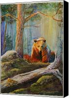 Lonesome Canvas Prints - Lonesome Bear Canvas Print by Mona Davis