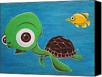 Friends Canvas Prints - Lonesome Fish And Friendly Turtle Canvas Print by Landon Clary