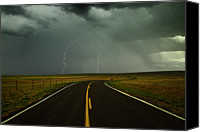 Weather Canvas Prints - Long And Winding Road Against Lighting Strike Canvas Print by DaveArnoldPhoto.com