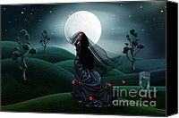 Red Moon Digital Art Canvas Prints - Long Black Veil Canvas Print by Shanina Conway