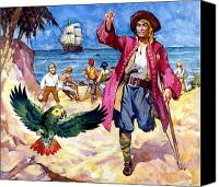 Amputee Canvas Prints - Long John Silver and his Parrot Canvas Print by James McConnell