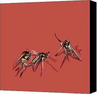Insects Painting Canvas Prints - Long-Legged Flies Canvas Print by Jude Labuszewski