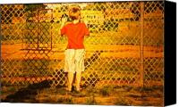Baseball Painting Canvas Prints - Long Shadows Canvas Print by Thomas Akers