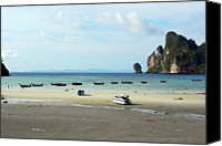 Rowboat Canvas Prints - Long Tail Boats In Bay Of Phi Phi, Thailand Canvas Print by Thepurpledoor