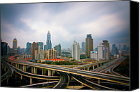 Complexity Canvas Prints - Long Twisting Bridges In Shanghai Canvas Print by Allister Chiong