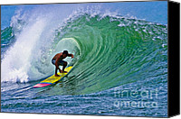 Sports Canvas Prints - Longboarder in the Tube Canvas Print by Paul Topp