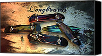 Louis Ferreira Art Canvas Prints - Longboards Canvas Print by Louis Ferreira