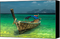 Wooden Tapestries Textiles Canvas Prints - Longboat Canvas Print by Adrian Evans